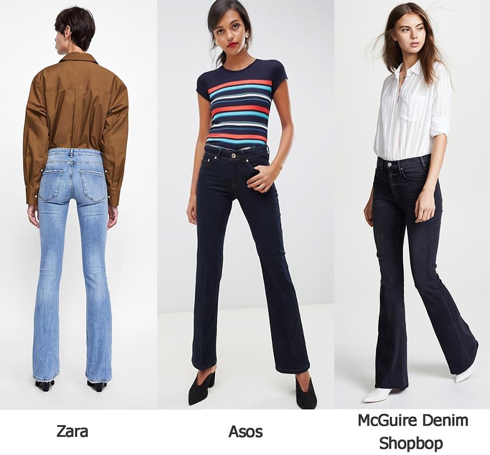 расклешенные джинсы, средний клеш, джинсы зара, джинсы асос