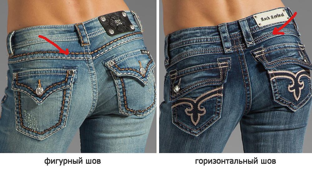 кокетка на джинсах, задние карманы на джинсах