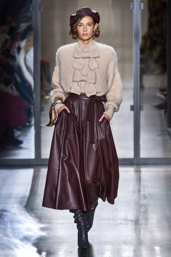 тренды сезона осень зима 2019 2020, кожа, модные ткани и материалы, кожаная юбка