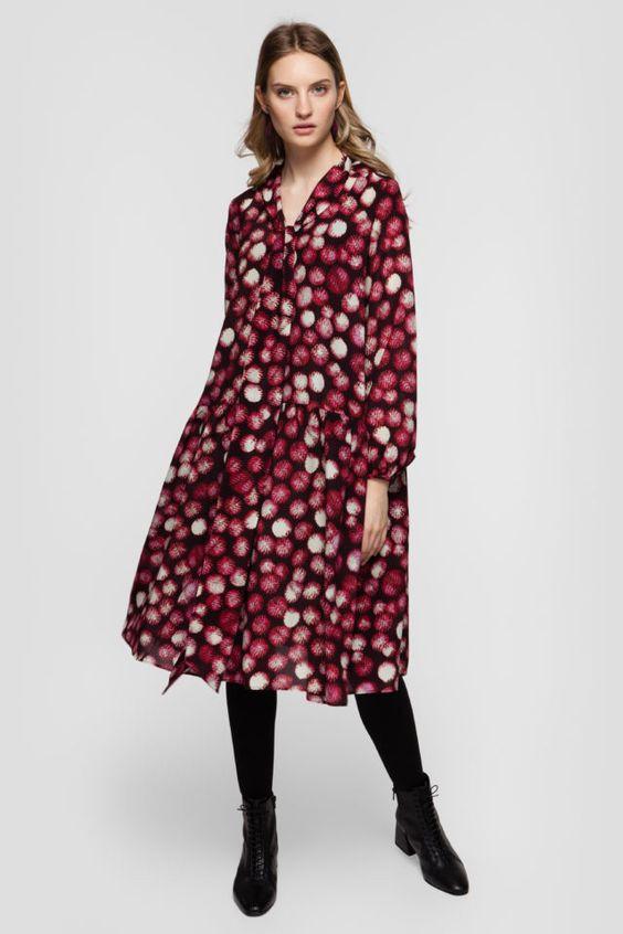 тренды сезона осень зима 2019 2020, модные принты, цветочный принт, платье