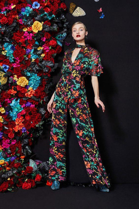 тренды сезона осень зима 2019 2020, модные принты, цветочный принт, комбинезон