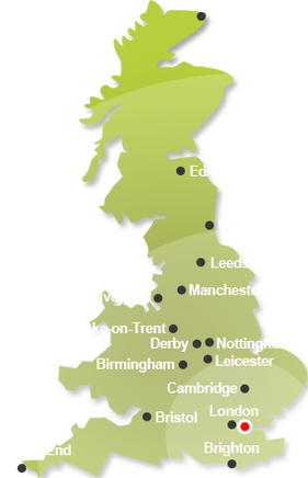 Map of Uk where we collect from