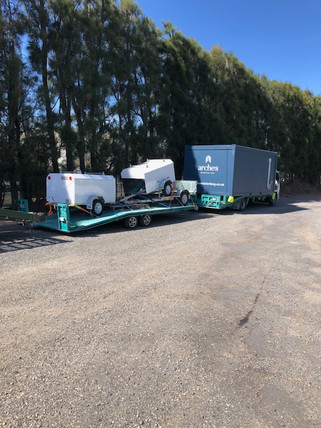 Trailers, Potable Buildings, Transporter and Trailer has has been fitted with twistlocks