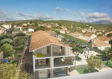 Résidence Les Hauts de Caromb - projet de promotion immobilière  Architecte R.Mognetti coupe-perspective
