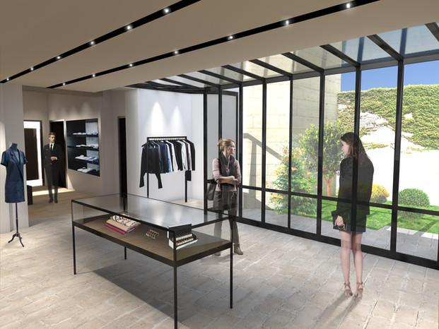 Vue intérieure de magasin Michel Escande Architecte