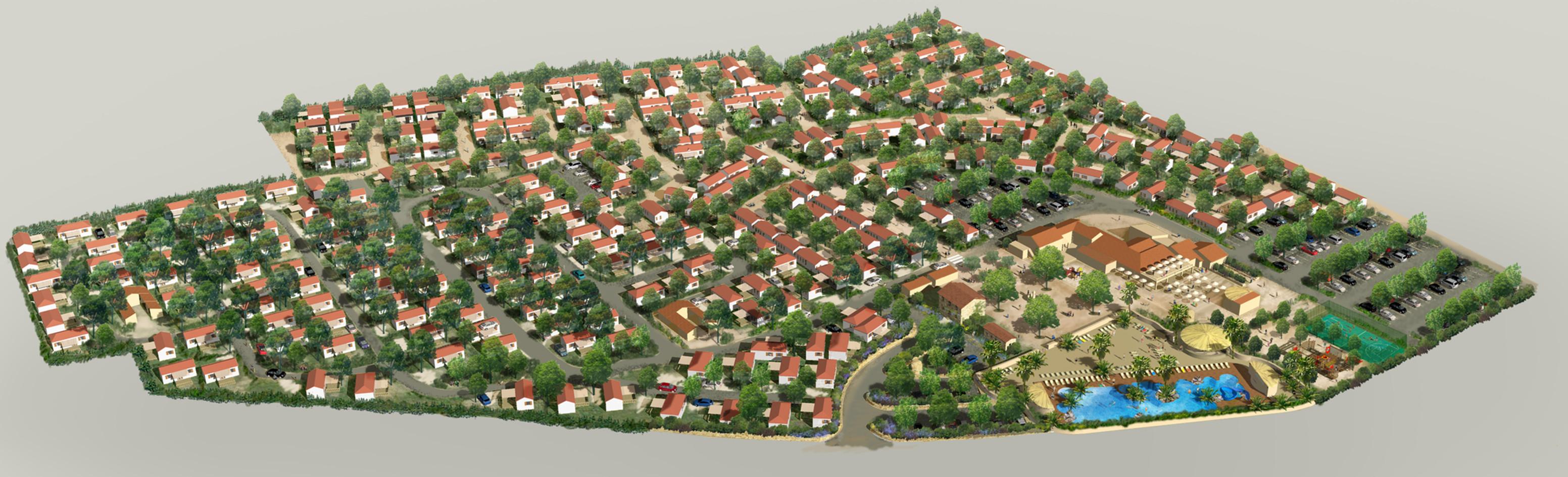 Vue aérienne pour projet d'extension et d'aménagement de camping C. Frery paysagiste