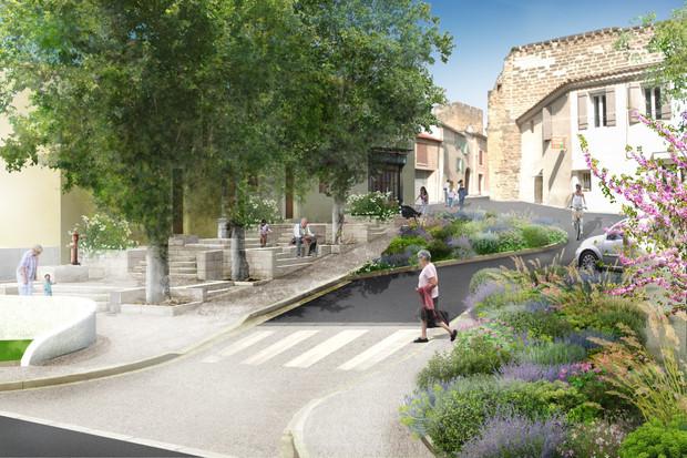 Aménagements urbains à Entraigues (84) B.Vallon Architecte A.Vallon Paysagiste