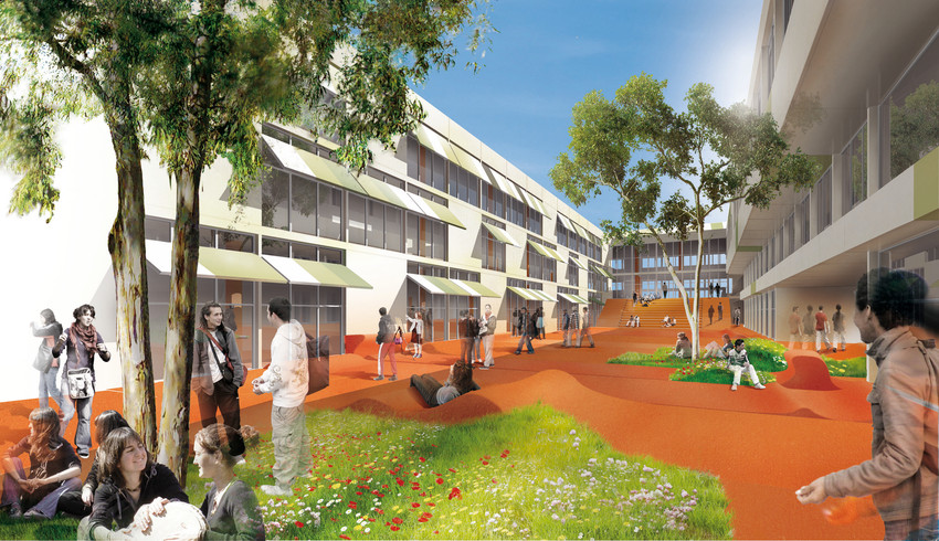 Scénographie urbaine pour un lycée à Marseille - Concours Bonte & Migozzi Architectes M. Merigot Scénographe