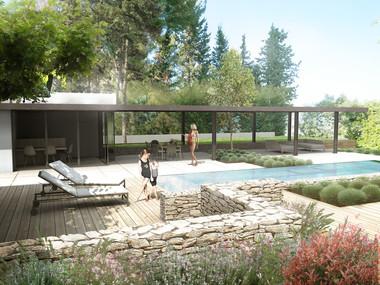 Projet de poolhouse G. Darneau & L.Sallier Architectes