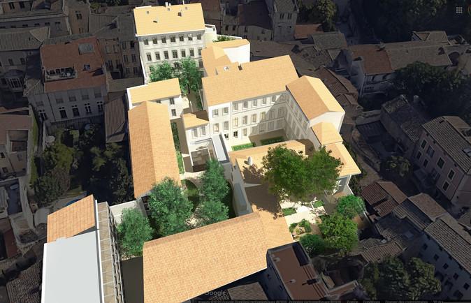 Vue aérienne pour projet de promotion immobilière en secteur sauvegardé  Michel Escande Architecte du Patrimoine & Panorama Architecture D. Urbaniak paysagiste