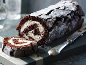 Pudding Large-Classic Chocolate Roulade with Whipped Double Cream