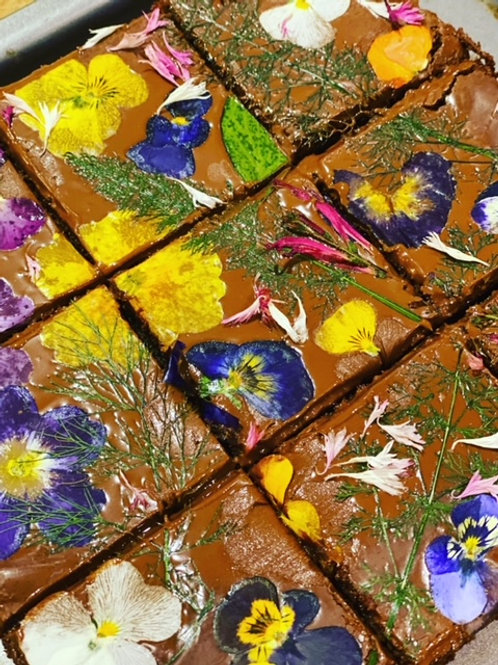 Floral Double Chocolate Brownies (boxed set of 4) for Friday 23rd April
