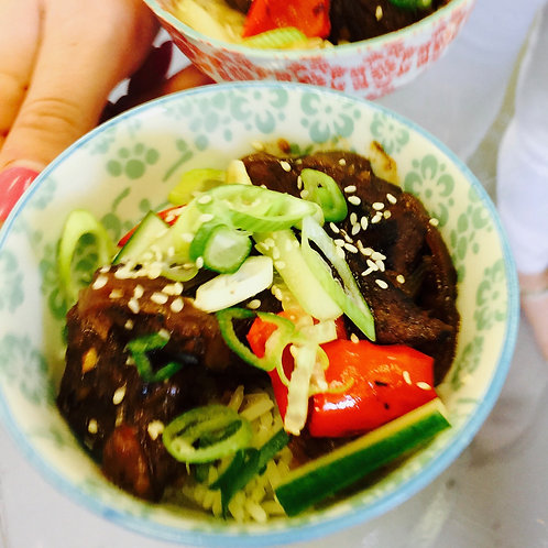 Sticky Gingered Beef with Jasmine Rice-Frozen dish for one: