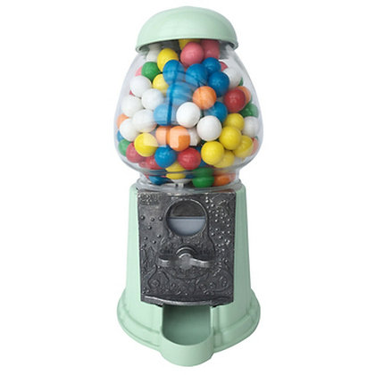 "Breathtaking Mint Green 15"" Classic Gumball Machine with Stand and Gumballs"