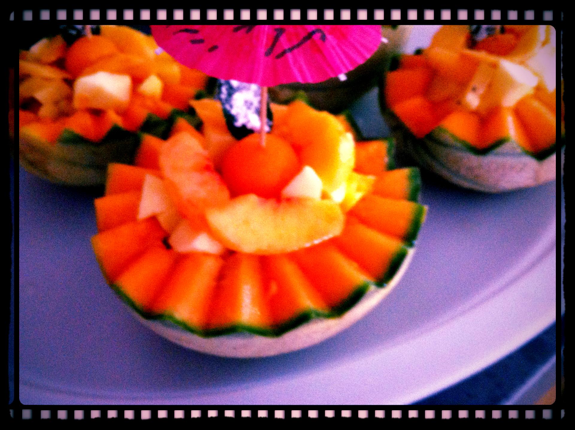 Salade de fruits en coque de melon