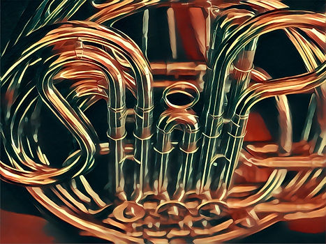Artistic image of a French horn