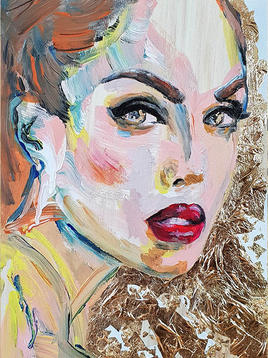 """(Sold) """"Woman with red lipstick"""" (small)"""