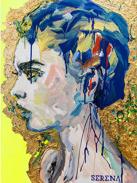 """(Sold) """"Woman with blue hair"""""""
