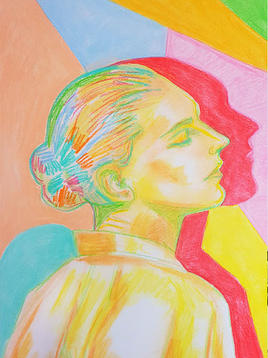 """(Sold) """"Thinking Woman"""" (Soft Pastels)"""