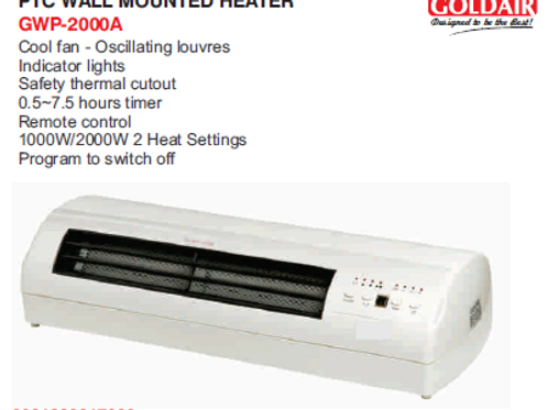 PTC WALL MOUNTED HEATER GWP-2000A
