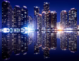 Busan cityscape with reflection effact,