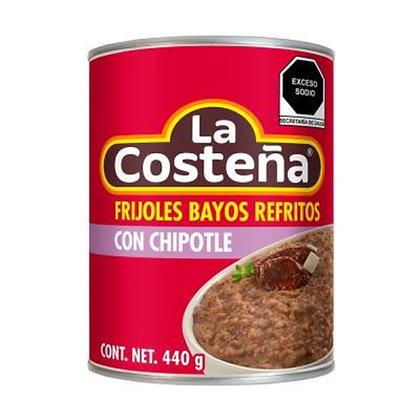 Frijoles Bayos Refritos con Chipotle La Costeña 440g