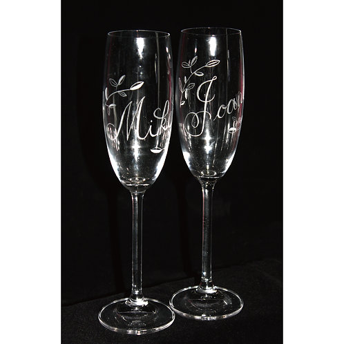 December Ink|手工雕刻水晶玻璃香檳杯 (一對)|結婚週年|情侶紀念日|香港
