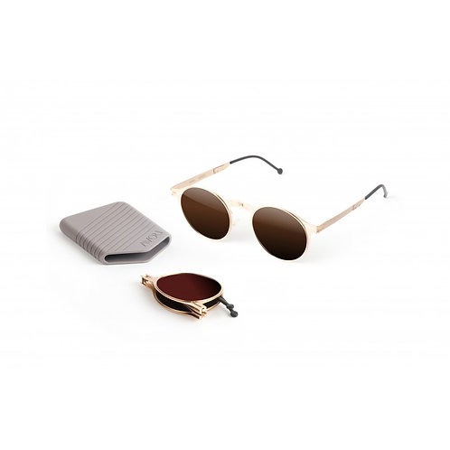 ROAV|全球最薄超輕量隨身折疊太陽眼鏡|1003 Balto系列|金框|啡色鏡|美國