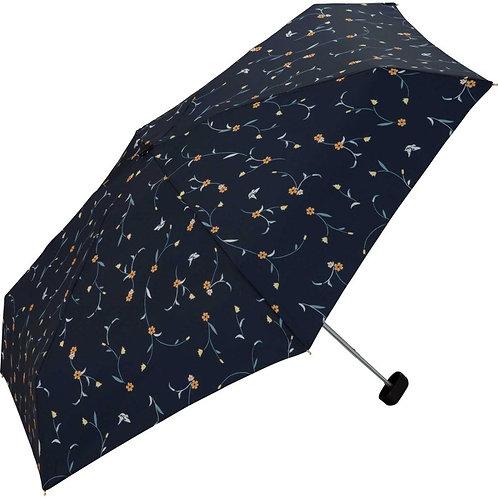W.P.C|6076 深藍花花|防UV伸縮雨傘|50cm|220g|日本