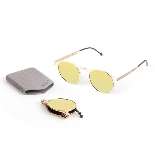 ROAV|全球最薄超輕量隨身折疊太陽眼鏡|1003 Balto系列|金框|金色鏡|美國