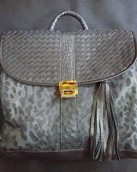 Gray Leopard & Ostrich Skin Backpack