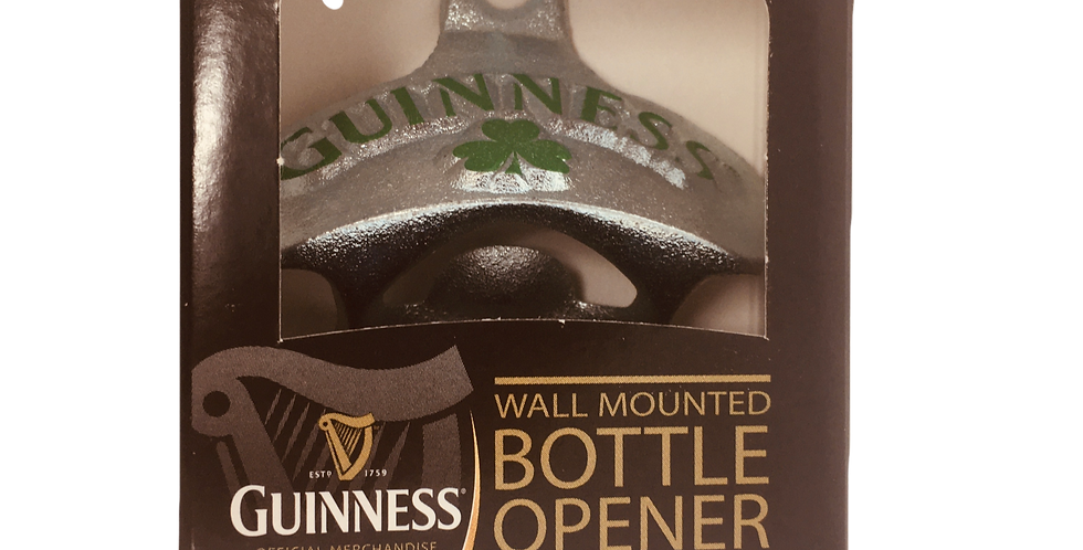 Guinness Wall Mounted Bottle Opener With 4 Leaf Clover