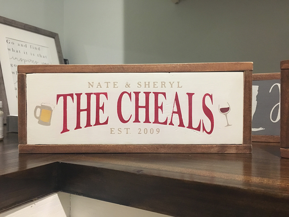 """The Cheals"" Bar Wood Sign"