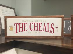"""The Cheals"" Bar Wood Sign"