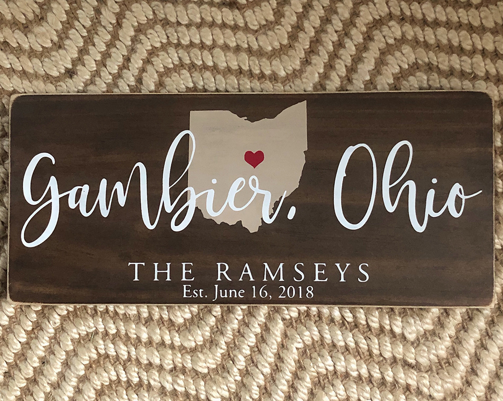 Gambier, Ohio, Wedding Wood Sign