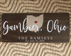 Gambier, Ohio, Wedding Wood Sign