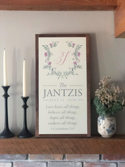 A wood sign for the Jantzis.