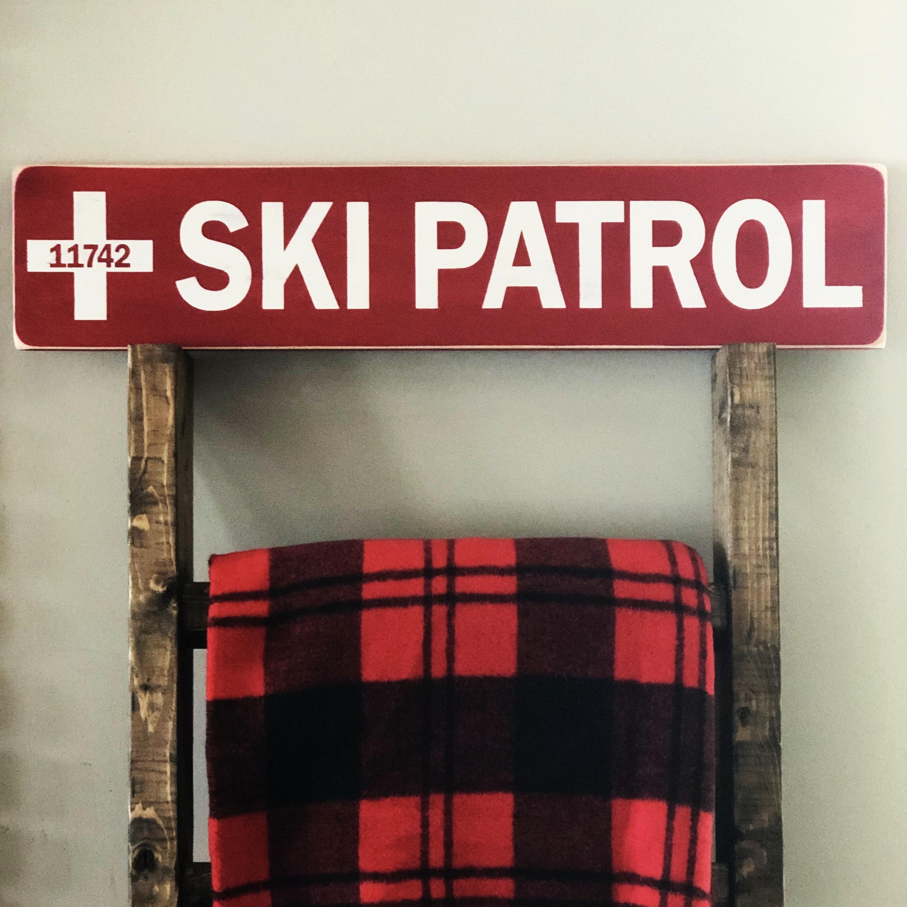 Ski patrol sign.