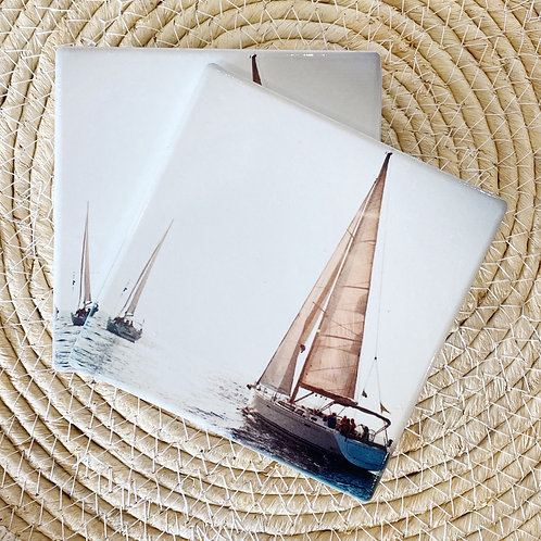 Yachts in the Sun Ceramic Coaster Set of 4