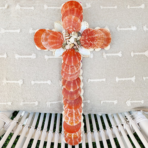 Coral Pectin Shell Cross