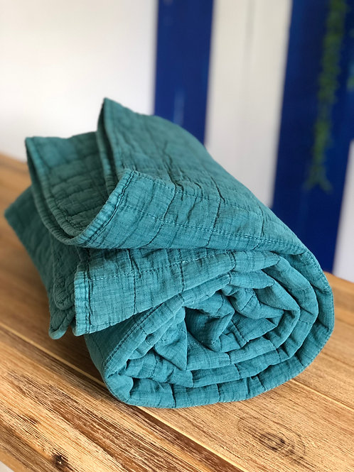Azure Quilted Throw