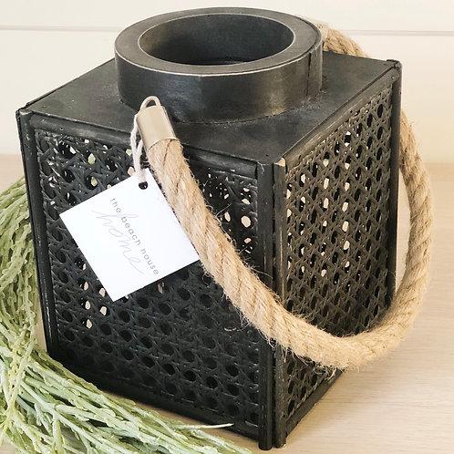 Square Long Island Lattice Lantern - Black