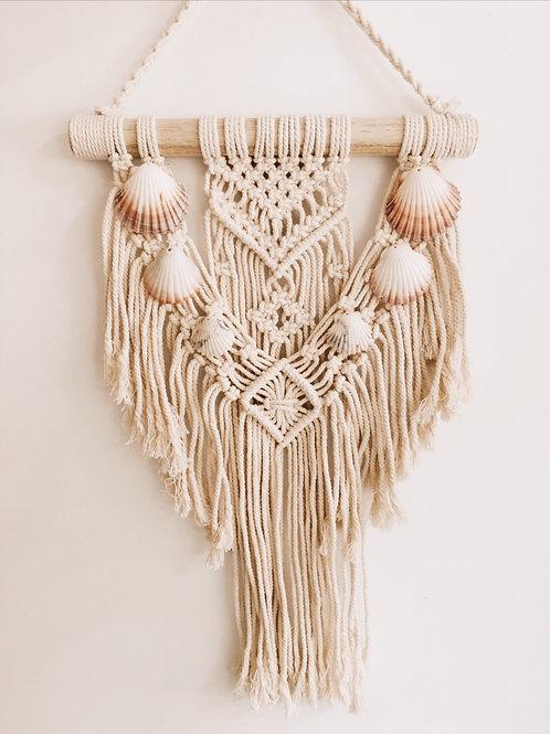 Hand Woven Macrame Shell Wall Hanging