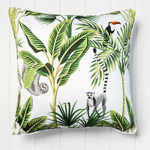 Tropical Cushion Cover - White 45cm x 45cm