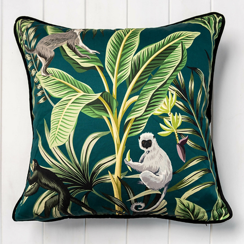 Tropical Cushion Cover - Green Cotton & Velvet