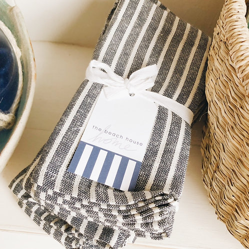 Cotton Napkin in Navy/White Stripe - 4 pack