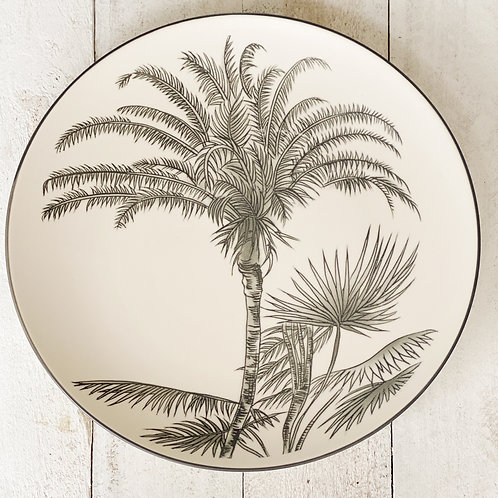 Palm Plate - White/Grey