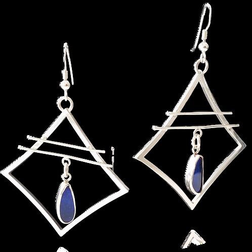 Boulder opal and silver drop earrings