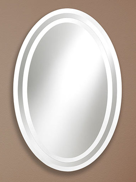 Double Oval Frameless Bevel Mirror