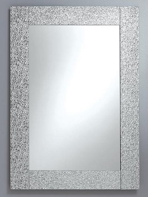 Silver Yacare Border Frameless Rectangle Mirror